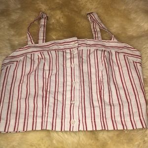 NWT button up stripped brandy Melville crop